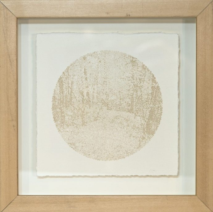 """Kyle Clements Trees #6 Laser etched image on hand made paper. 6"""" X 6"""" (paper) 8"""" X 8"""" (framed)"""