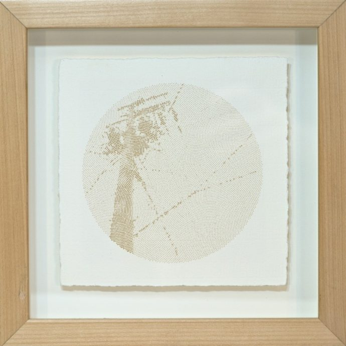 "Kyle Clements Power Lines #1 Laser etched image on hand made paper. 6"" X 6"" (paper) 8"" X 8"" (framed)"