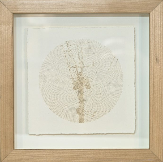 """Kyle Clements Power Lines #2 Laser etched image on hand made paper. 6"""" X 6"""" (paper) 8"""" X 8"""" (framed)"""