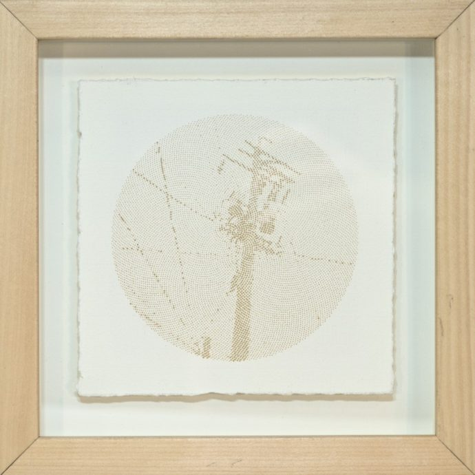 "Kyle Clements Power Lines #4 Laser etched image on hand made paper. 6"" X 6"" (paper) 8"" X 8"" (framed)"
