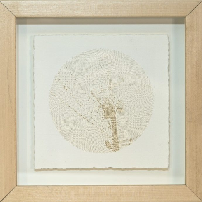 "Kyle Clements Power Lines #6 Laser etched image on hand made paper. 6"" X 6"" (paper) 8"" X 8"" (framed)"