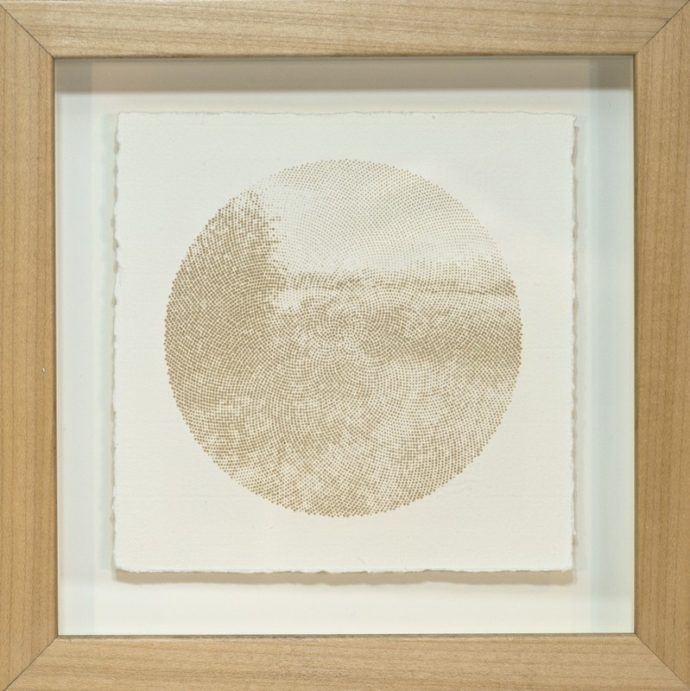 "Kyle Clements Fibonacci Landscape #2 Laser etched image on hand made paper. 6"" X 6"" (paper) 8"" X 8"" (framed)"