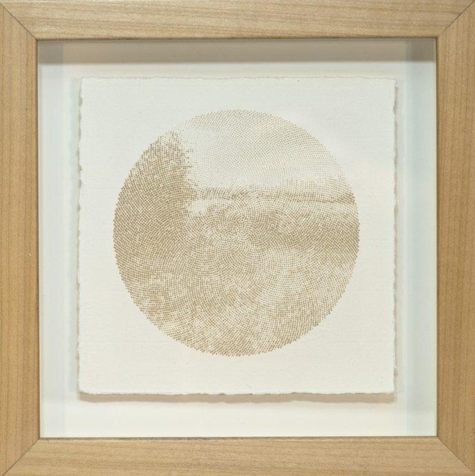 """Kyle Clements Fibonacci Landscape #2 Laser etched image on hand made paper. 6"""" X 6"""" (paper) 8"""" X 8"""" (framed)"""