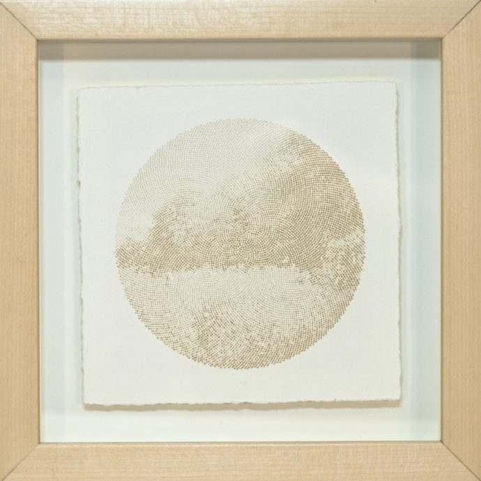 "Kyle Clements Fibonacci Landscape #3 Laser etched image on hand made paper. 6"" X 6"" (paper) 8"" X 8"" (framed)"