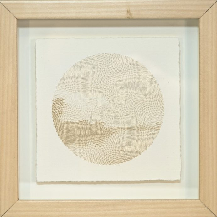 "Kyle Clements Fibonacci Landscape #4 Laser etched image on hand made paper. 6"" X 6"" (paper) 8"" X 8"" (framed)"