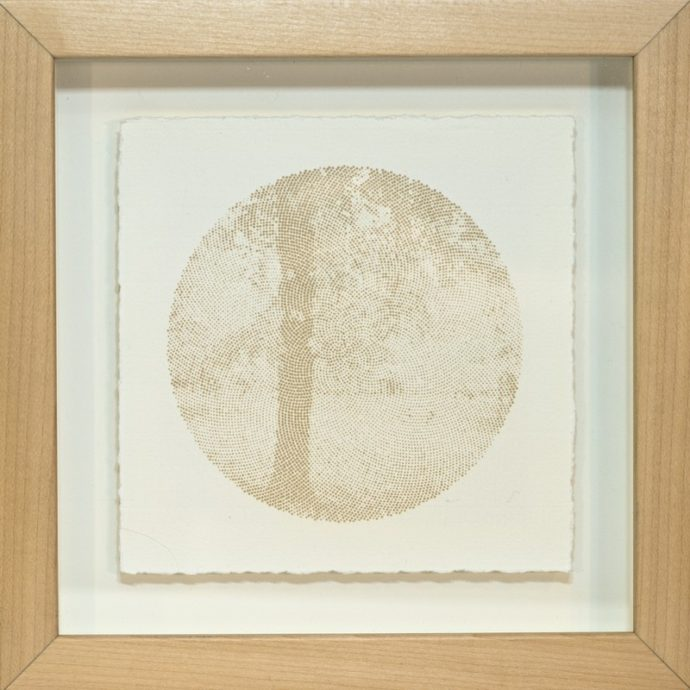 "Kyle Clements Fibonacci Landscape #5 Laser etched image on hand made paper. 6"" X 6"" (paper) 8"" X 8"" (framed)"
