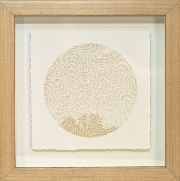 "Kyle Clements Fibonacci Sky #1 Laser etched image on hand made paper. 6"" X 6"" (paper) 8"" X 8"" (framed)"