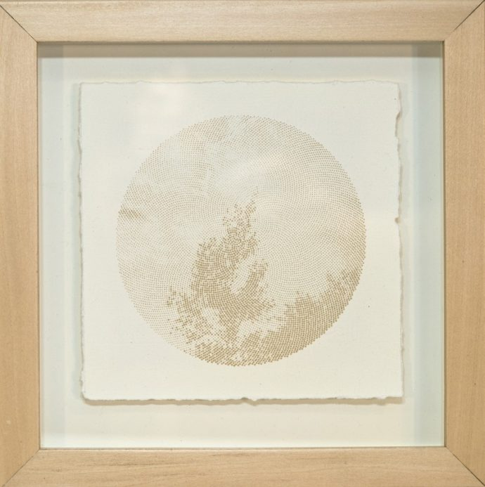 "Kyle Clements Fibonacci Sky #2 Laser etched image on hand made paper. 6"" X 6"" (paper) 8"" X 8"" (framed)"