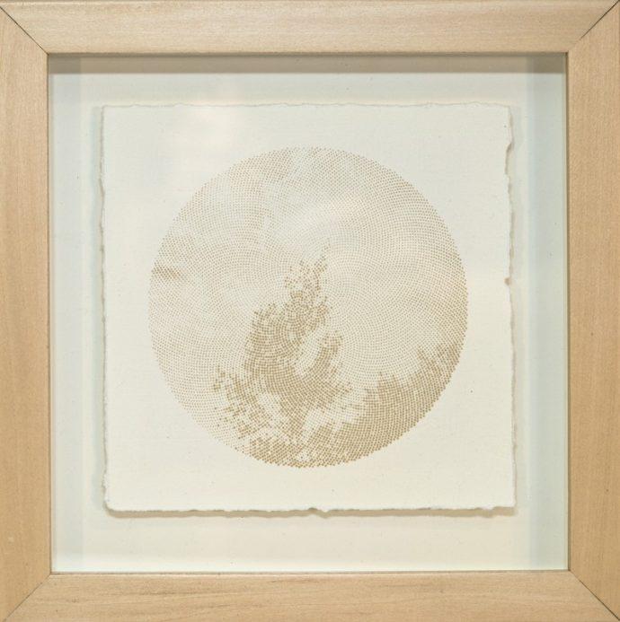 "Kyle Clements Fibonacci Sky #2 Laser etched image on hand made paper. 6"" X 6"" (paper) 8"" X 8"" (framed)"