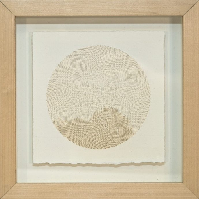 "Kyle Clements Fibonacci Sky #3 Laser etched image on hand made paper. 6"" X 6"" (paper) 8"" X 8"" (framed)"