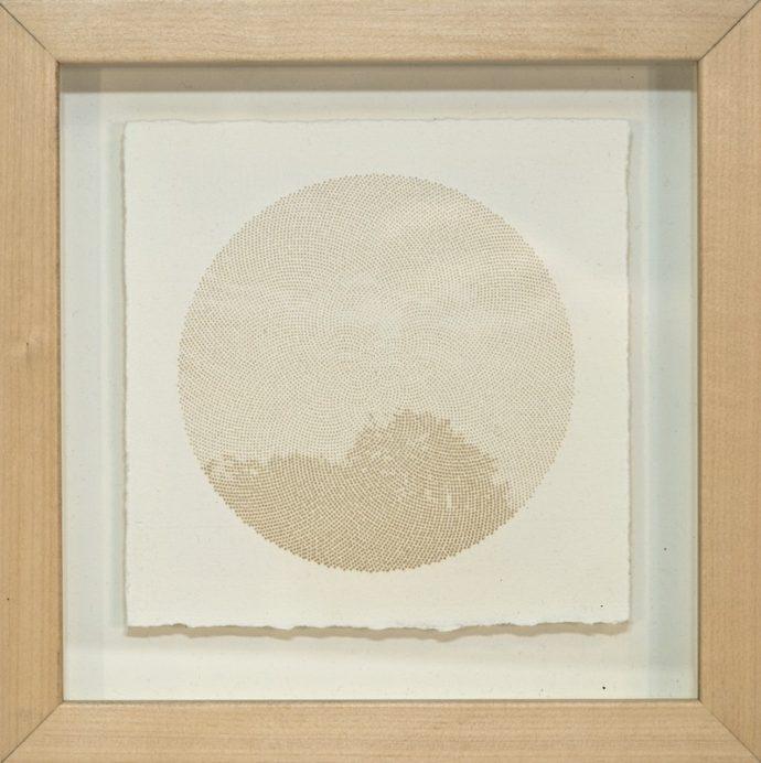 "Kyle Clements Fibonacci Sky #3 Laser etched image on hand made paper. 6"" X 6"" (paper) 8"" X 8"" (framed)"