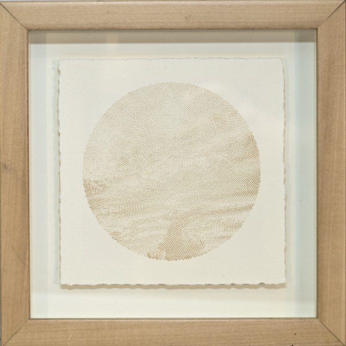 "Kyle Clements Fibonacci Sky #4 Laser etched image on hand made paper. 6"" X 6"" (paper) 8"" X 8"" (framed)"