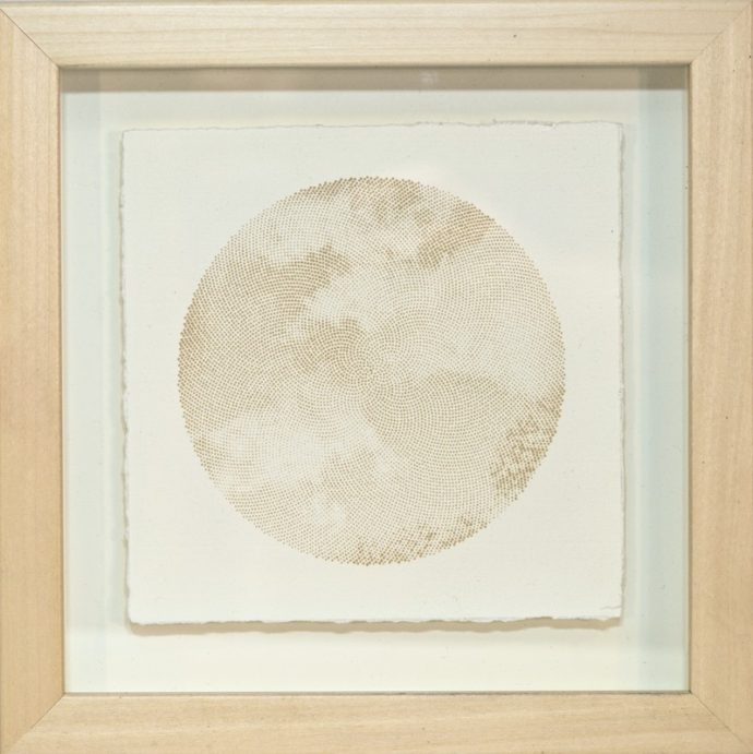 "Kyle Clements Fibonacci Sky #5 Laser etched image on hand made paper. 6"" X 6"" (paper) 8"" X 8"" (framed)"